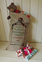 Personalized Santa List Large Father Christmas Xmas Santa Sack / Stocking Bag Jute Hessian